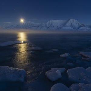 Full moon rising in February